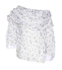 Rosie Assoulin Off The Shoulder Floral Printed Silk Blouse White