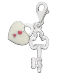 Macy's Sterling Silver Charm Cubic Zirconia Accent Lock And Key Charm