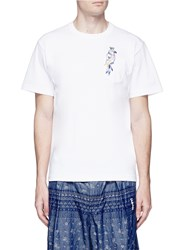 Sacai Parrot Embroidered Pocket Cotton T Shirt White