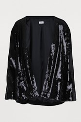 Celine Sequined Knit Cardigan Black