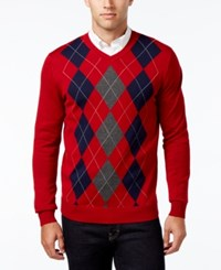 Club Room Men's V Neck Argyle Sweater Only At Macy's Red River
