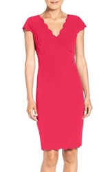 Adrianna Papell Women's Scalloped Crepe Sheath Dress Flare Red
