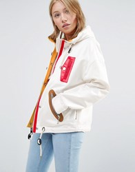 Love Moschino Patch Zips Hooded Jacket White