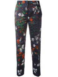 Cedric Charlier Floral Print Cropped Trousers Blue