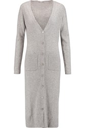 Autumn Cashmere Ribbed Cashmere Cardigan Gray