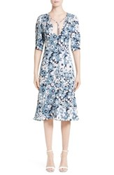 Michael Kors Women's Floral Print Silk Fit And Flare Dress