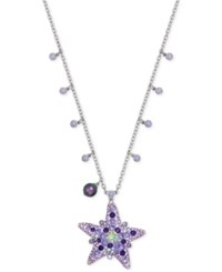 Swarovski Silver Tone Multi Crystal Starfish Long Pendant Necklace