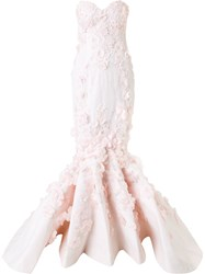 Mikael D. Strapless Lace Gown Pink Purple
