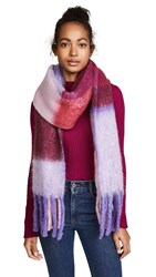 Free People Cameron Brushed Plaid Scarf Purple