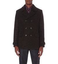 Ted Baker Herringbone Wool Blend Peacoat Dark Green