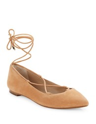 424 Fifth Charisma Suede Flats Light Tan