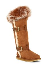 Australia Luxe Collective Tsar Tall Genuine Fox Fur And Shearling Boot Gray