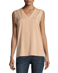 Brunello Cucinelli Sleeveless V Neck Stretch Top Peach