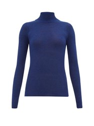 Ryan Roche Ribbed Cashmere Roll Neck Sweater Blue