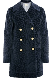 Band Of Outsiders Leopard Devore Faux Fur Coat Blue
