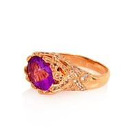 Alexandra Alberta Heliconia Amethyst Ring Rose Gold Pink Purple