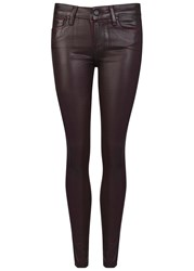 Paige Verdugo Burgundy Coated Skinny Jeans Dark Purple