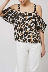 Leopard Off The Shoulder Top By Boutique Pink