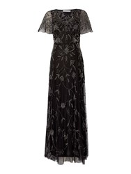 Shubette Floral Beaded Gown With Capre Black