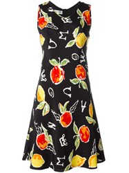 Jc De Castelbajac Vintage Apple Print Dress Black