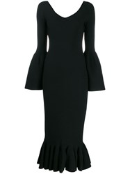 Stella Mccartney Flutted Sleeve Midi Dress Black
