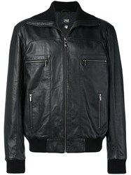 Class Roberto Cavalli Leather Bomber Jacket Black