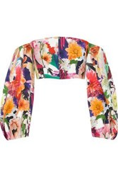 Cushnie Et Ochs Off The Shoulders Cropped Floral Print Cady Top Multicolor