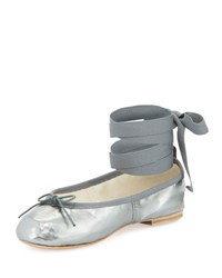 Ballet Beautiful Street Ballerina Ankle Wrap Flat Gunmetal