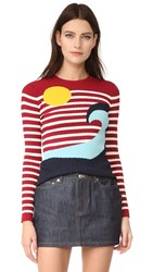 Red Valentino Waves And Sun Sweater Red Blue White