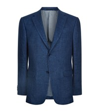 Z Zegna Linen Denim Effect Blazer Male Navy