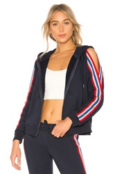 Pam And Gela Cold Shoulder Hoodie With Sport Stripes Navy