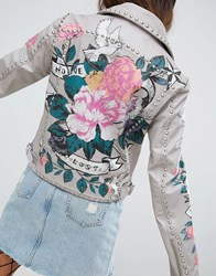 Asos Premium Leather Jacket With Tattoo Rose Print And Studs Grey