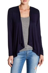 Cable And Gauge Draped Front Cardigan Blue