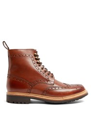 Grenson Fred Leather Brogue Boots Brown