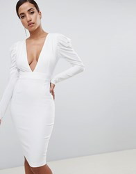 Vesper Plunge Front Ruched Sleeve Midi Dress In White