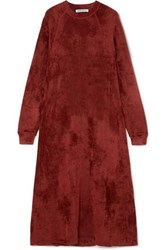 Elizabeth And James Lafayette Crushed Velvet Midi Dress Burgundy