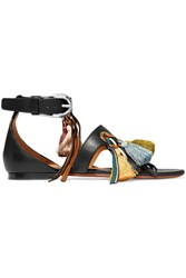 Chloe Tasseled Textured Leather And Suede Sandals Black
