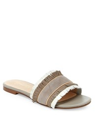 Nanette By Nanette Lepore Victoria Leather Fringed Slide Flats Taupe