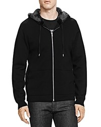 The Kooples Merino Wool And Faux Fur Hoodie Black