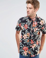 Denim And Supply Ralph Lauren Shirt With Floral Print Short Sleeves Black