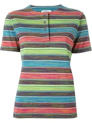 Missoni Vintage Striped Henley T Shirt Blue
