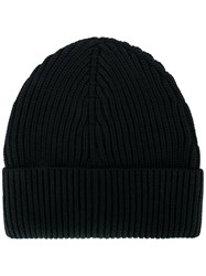 Maison Martin Margiela Ribbed Beanie Hat Men Wool One Size Black