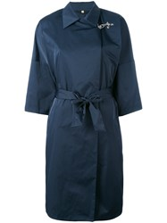 Fay Wrap Coat Women Polyester M Blue
