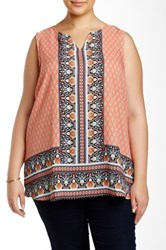 Eyeshadow Printed Tunic Plus Size Orange
