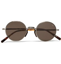 Eyevan 7285 Round Frame Metal And Tortoiseshell Acetate Sunglasses Silver