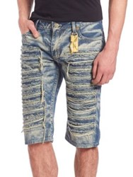 Robin's Jeans Distressed Long Flap Denim Shorts Boston