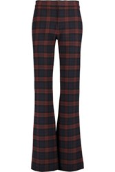 Derek Lam 10 Crosby By Checked Flannel Bootcut Pants Midnight Blue