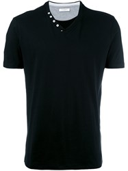 Paolo Pecora Buttoned V Neck T Shirt Black