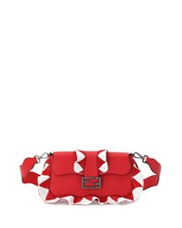 Fendi Baguette Sequin Waves Shoulder Bag Red White Red White