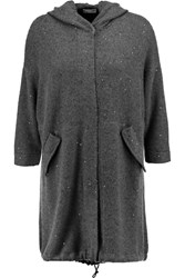 Brunello Cucinelli Embellished Cashmere And Silk Blend Hooded Cardigan Gray